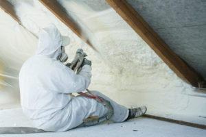 Spraying insulation in attic